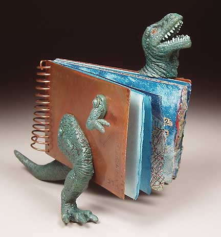 7 Extinction Events - artist's book by Judith Hoffman, copper, plastic dinosaur, watercolor paper